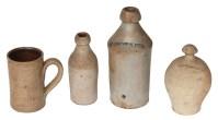 Stoneware Bottles, Mug, and Bank