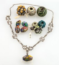 Millefiori Beads, Silver Necklace
