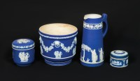 Four 19th C. Blue Wedgwood Pieces