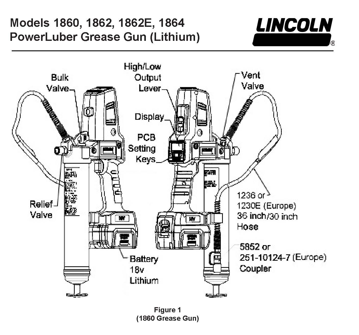 lincoln power luber 1860 series a, 18 volt lithium ion