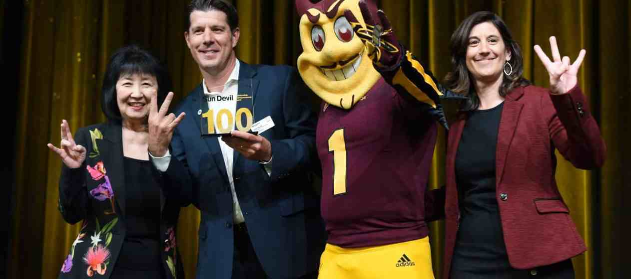 Willmeng CEO, James Murphy receiving Sun Devil 100 in April 2019