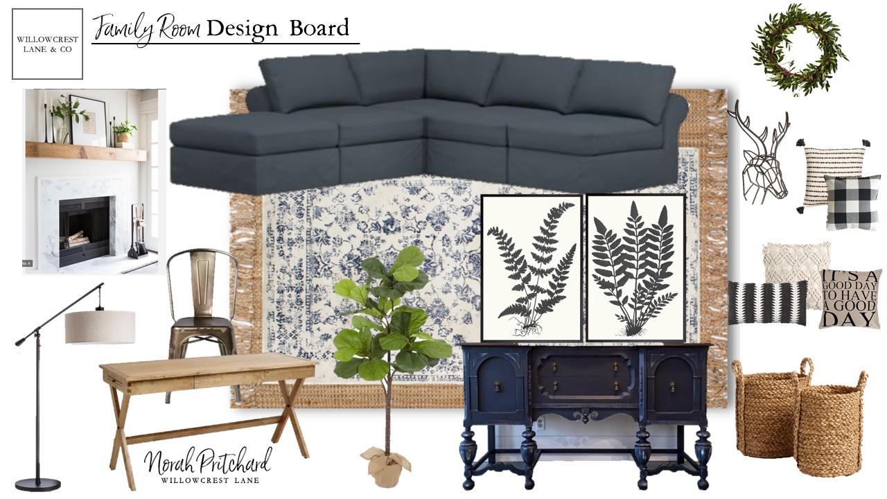Modern Classic Family Room Design Board