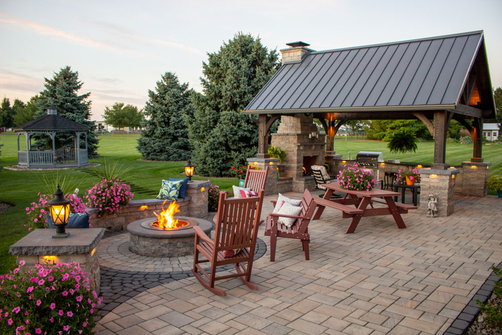 outdoor patio with pavilion see the