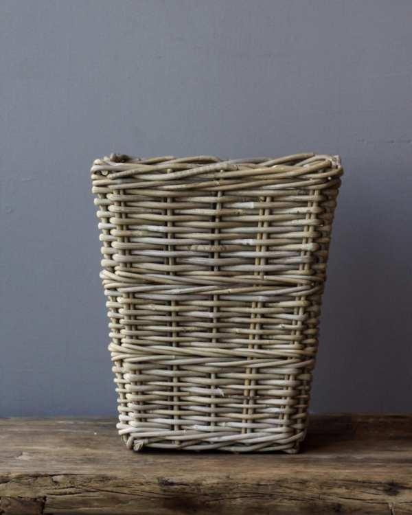 Square Grey Rattan Waste Paper Basket Baskets Kitchen