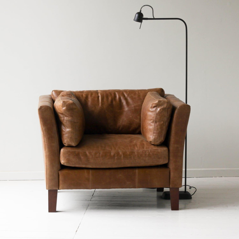 Croft Italian Tan Leather Armchair  Chairs  Furniture