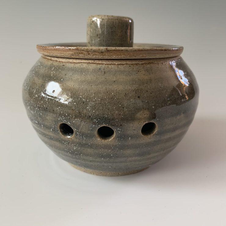 Garlic jar, blue thrown knob
