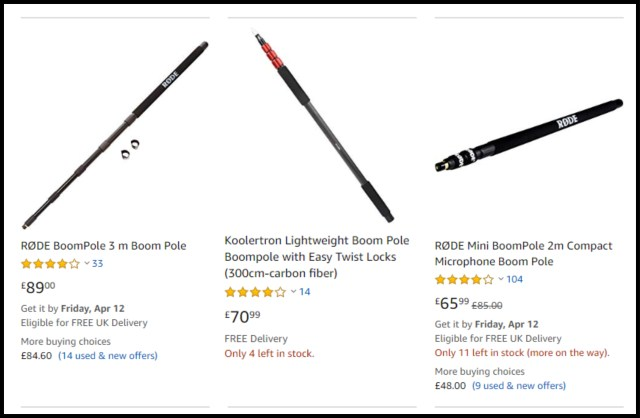 "Amazon Search Result for ""Boom Pole"" 2019"