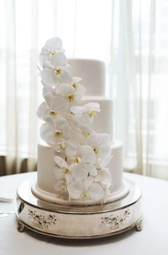 orchid wedding cake white