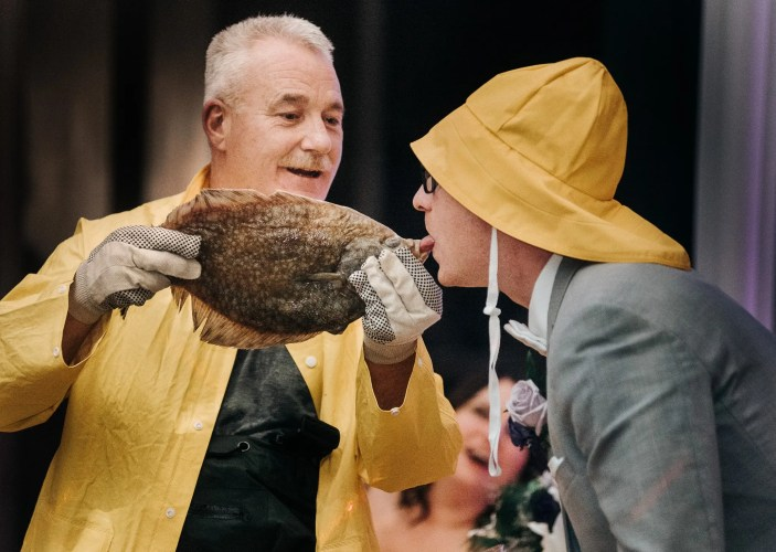 Kiss the cod in Newfoundland wedding