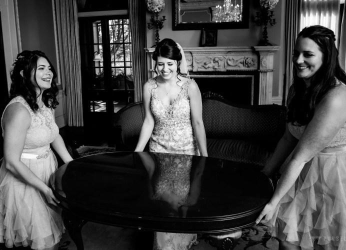 031 - fun wedding black and white photo