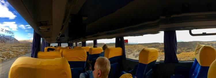 Panoramic shot of an overnight bus to El Calafate