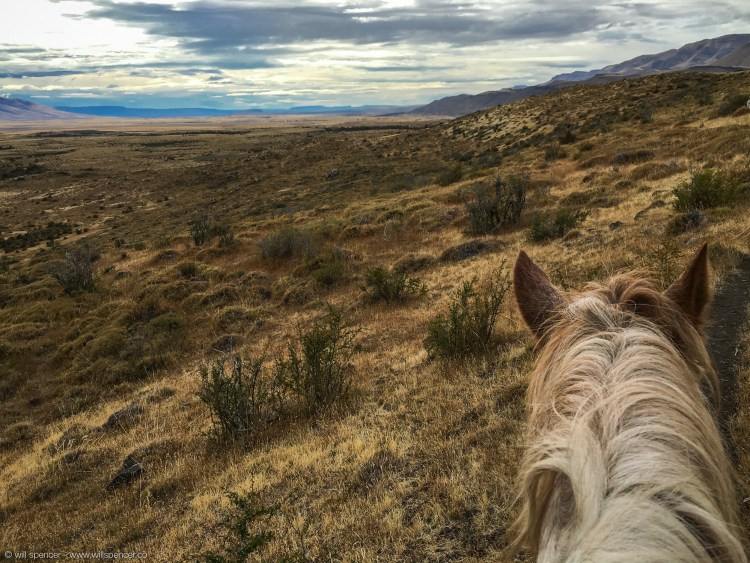 Riding horseback on the Argentinian pampa, in Patagonia. April 2016