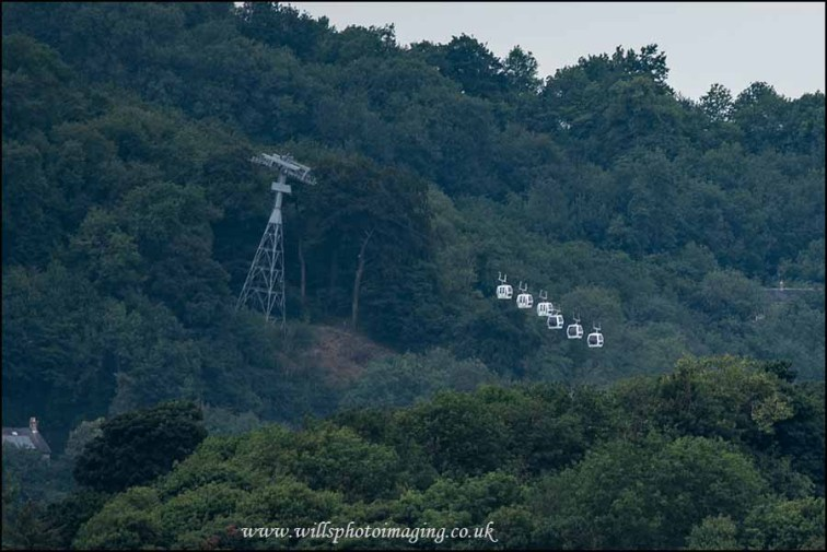 Cable cars from the foot of High Tor up over the A6 to Gulliver's Kingdom