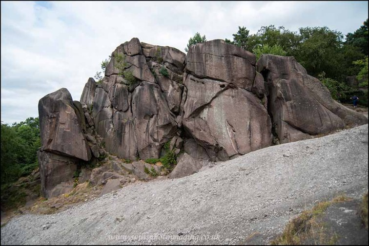 The Gritsone of Black Rocks emerging from the Limestone scree slope.