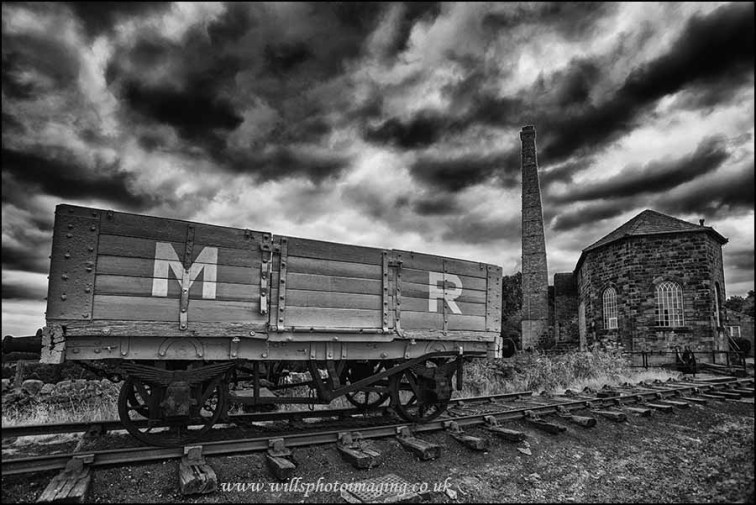 Mineral wagon ( Midland Railway ) and the winding house at the top of Middleton Incline.