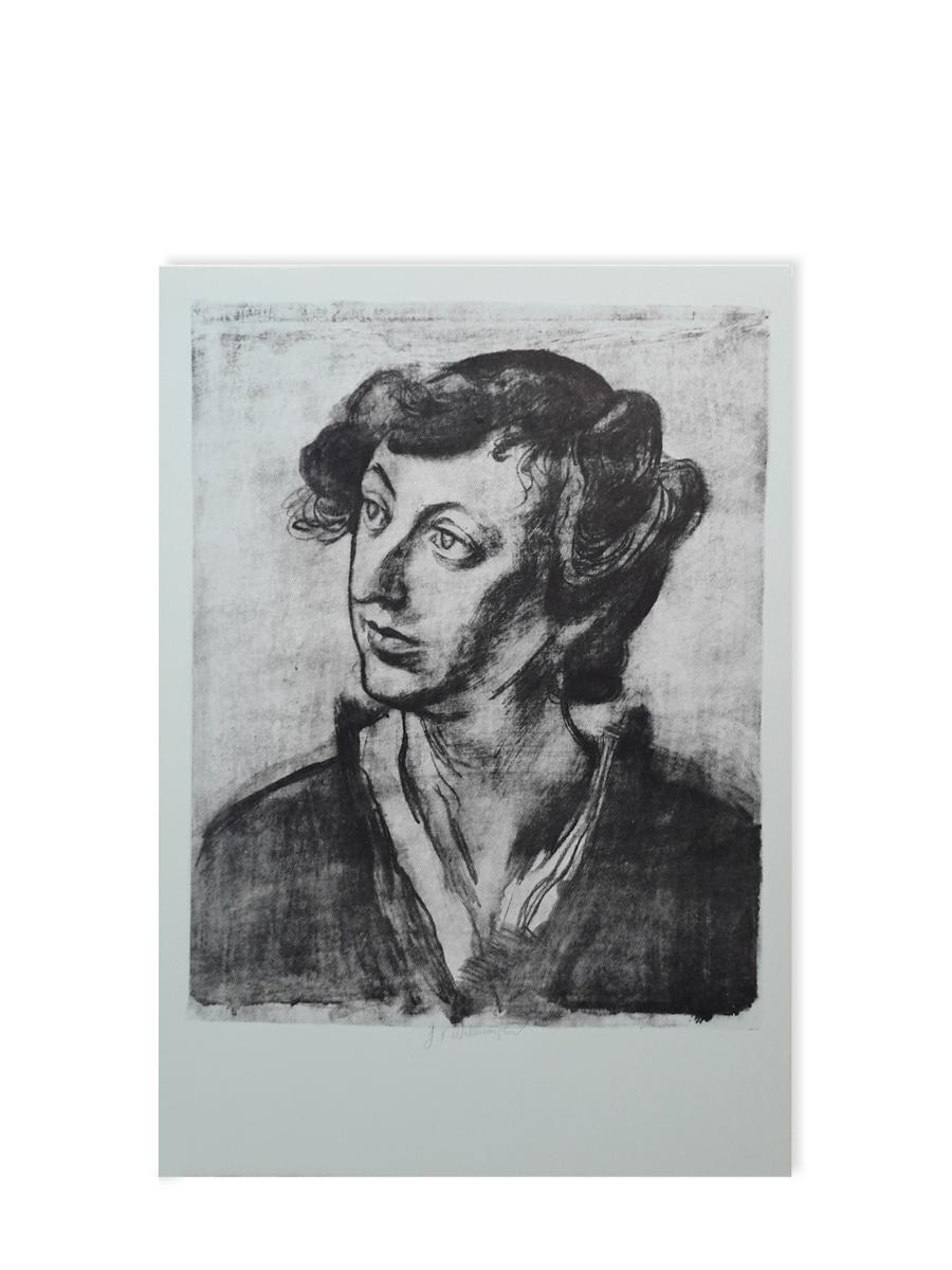 Portræt af Edith ca 1914 Litografi postkort Willumsens Museum sort hvid
