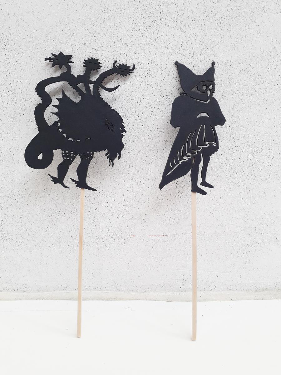 Skyggefirgurer fra udstillingen Alkymistens Laboratorium