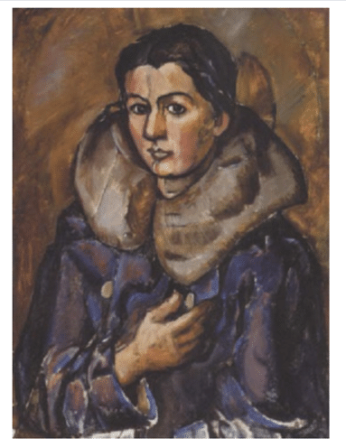 Georg Jacobsen. Dame i pels, 1920. Olie på lærred, 81 x 59 cm. Bruun Rasmussens Kunstauktioner