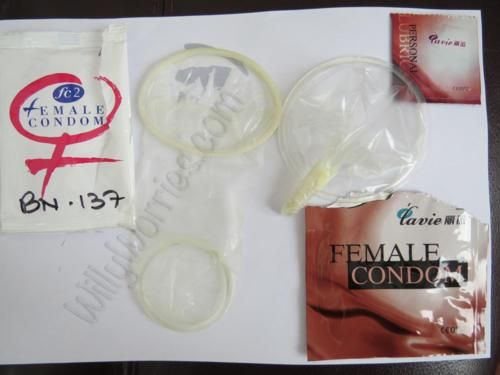 Left: FC2, the second design of the original Female Condom, Femidom® // Right: a later edition of a female condom, which is inserted in a similar way to a tampon, both with their outer ring worn externally, covering the vulva.