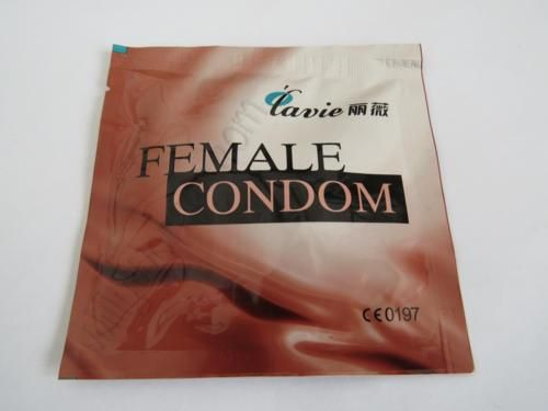 Female Condom in its packaging