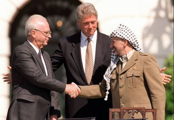PM Yitzhak Rabin with President Clinton and Yasser Arafat during the signing of the Oslo I Accord in 1993: Israel Defense Force