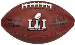closeup for Super Bowl 51 football