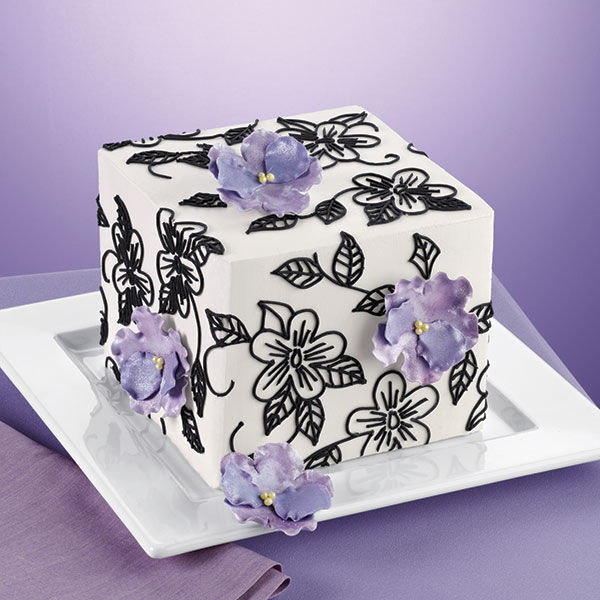 Flowers and Vines Square Cake  Wilton