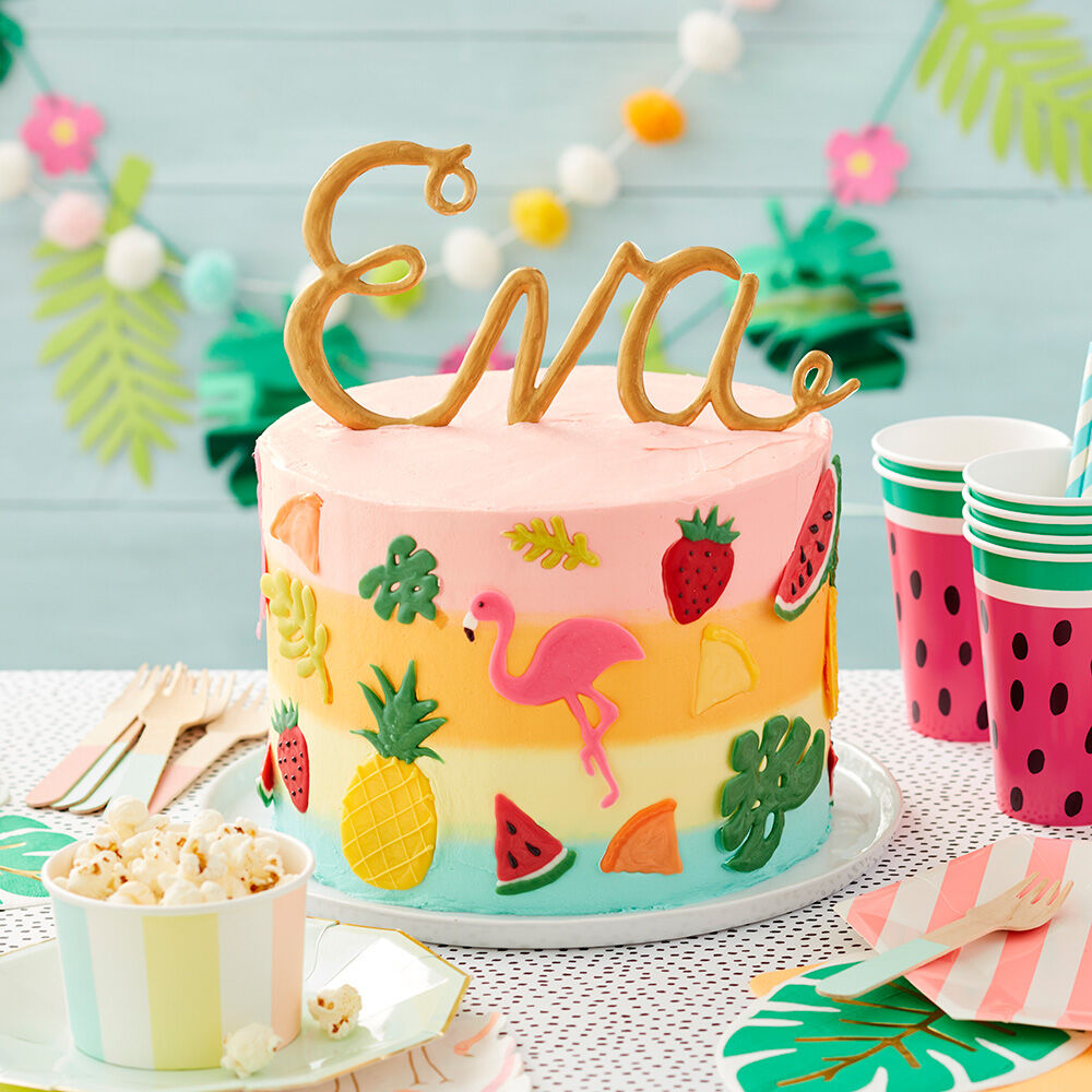 tropical time birthday cake