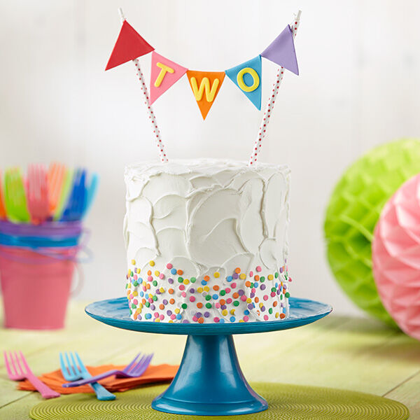 Turning Two Banner Cake  Wilton