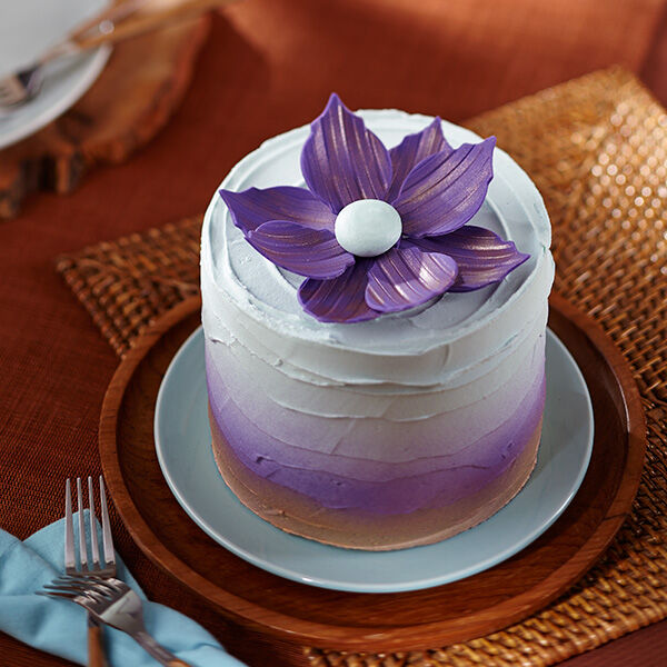 Metallic Purple Flower Cake Wilton