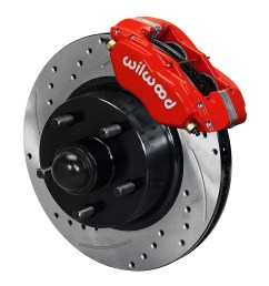 wilwood classic series dynalite front brake kit red powder coat caliper srp drilled  [ 1000 x 1119 Pixel ]