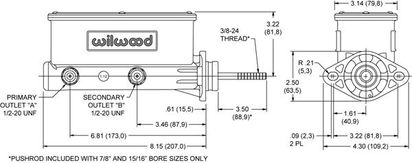 (Feeler) Power Brake Master Delete adapter / Wilwood