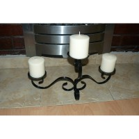 Candle holder triple Wrought iron handmade