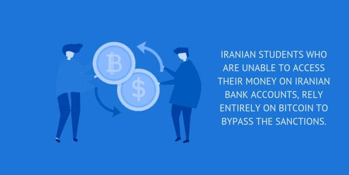 Iranian students who are unable to access their money on Iranian Bank accounts, rely entirely on Bitcoin to bypass the sanctions.