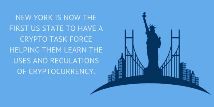 New York is now the first US state to have a crypto task force helping them learn the uses and regulations of cryptocurrency.