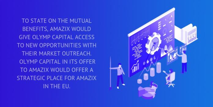 to state on the mutual benefits, amazix would give olymp capital access to new opportunities with their market outreach.