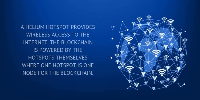 A Helium Hotspot provides wireless access to the Internet. The blockchain is powered by the hotspots themselves where one hotspot is one node for the blockchain.