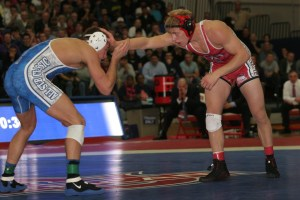 Penn State's David Taylor and Cornell's Kyle Dake faced each other at the NWCA All-Star Classic, Nov. 3, in Washington, D.C., with Dake winning the 165-pound exhibition in overtime. (Paul Swisher image)
