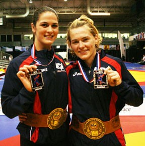 Adeline Gray (left) and Elena Pirozhkova celebrated after winning World championships last September in Canada.