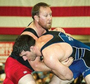 The 2013 Greco-Roman final at 211.5 pounds at the ASICS U.S. Open features a pair of former college wrestlers: John Wechter (right) of Michigan State, who defeated former Cal Poly wrestler Ryan Halsey.