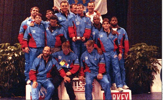 Members of the 1993 United States freestyle team posed together on top of the medal stand in  Toronto, Canada, after claiming their country's first World team championship