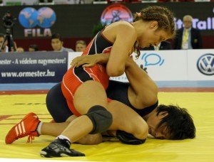 Helen Maroulis won her first two matches by fall, including an opening round pin against North Korea's Kum Ok Han. (Bob Mayeri image)