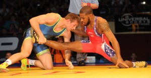 David Taylor, the two-time NCAA champ and Hodge Trophy winner from Penn State, appeared to get a leg up against Jordan Burroughs, the former Hodge Trophy winner from Nebraska and led in the second of their two matches. (Ginger Robinson image)