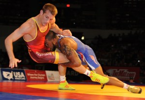 In winning 84 of 85 Senior freestyle matches, Jordan Burroughs (right) is 4-0 vs. David Taylor. (Ginger Robinson photo)