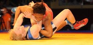 Victoria Anthony, who like Alyssa Lampe was also on the 2013 World Team, forced a third Championship Series bout when she pinned the two-time World bronze medal winner. (Ginger Robinson photo)
