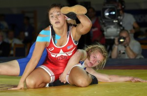 Alli Ragan first gave up two exposure points from this type of move against Anastassia Huchok of Belarus then later scored a takedown. But it was not enough as she lost on criteria points in this bronze medal bout. (Bob Mayeri image)