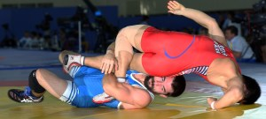After going 0-2 in two previous Worlds, Brent Metcalf finally won a Worlds match with a 11-0 technical fall. (Bob Mayeri image)