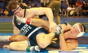 Penn State's Matt McCutcheon defeated No. 3 Blake Stauffer (Arizona State) to reach the semis at 184. Overall, Penn State is 12-2 after two rounds. (Ashley De Jager photo)