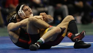 Iowa State's Mike Moreno, seeded No. 2 at 165, was upset by Nebraska's Austin Wilson in the first round. Overall, the Cyclones went 2-5 on Thursday afternoon. (Tim Tushla photo).
