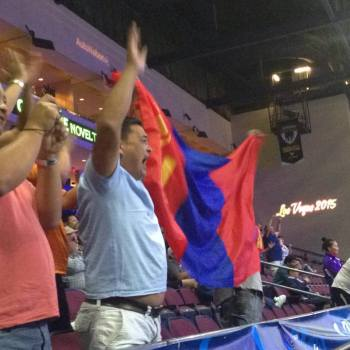 These Mongolian fans were among the diverse fans who filled Orleans Arena on the final night of competition at the 2015 World in Las Vegas. (Andy Hamilton photo)